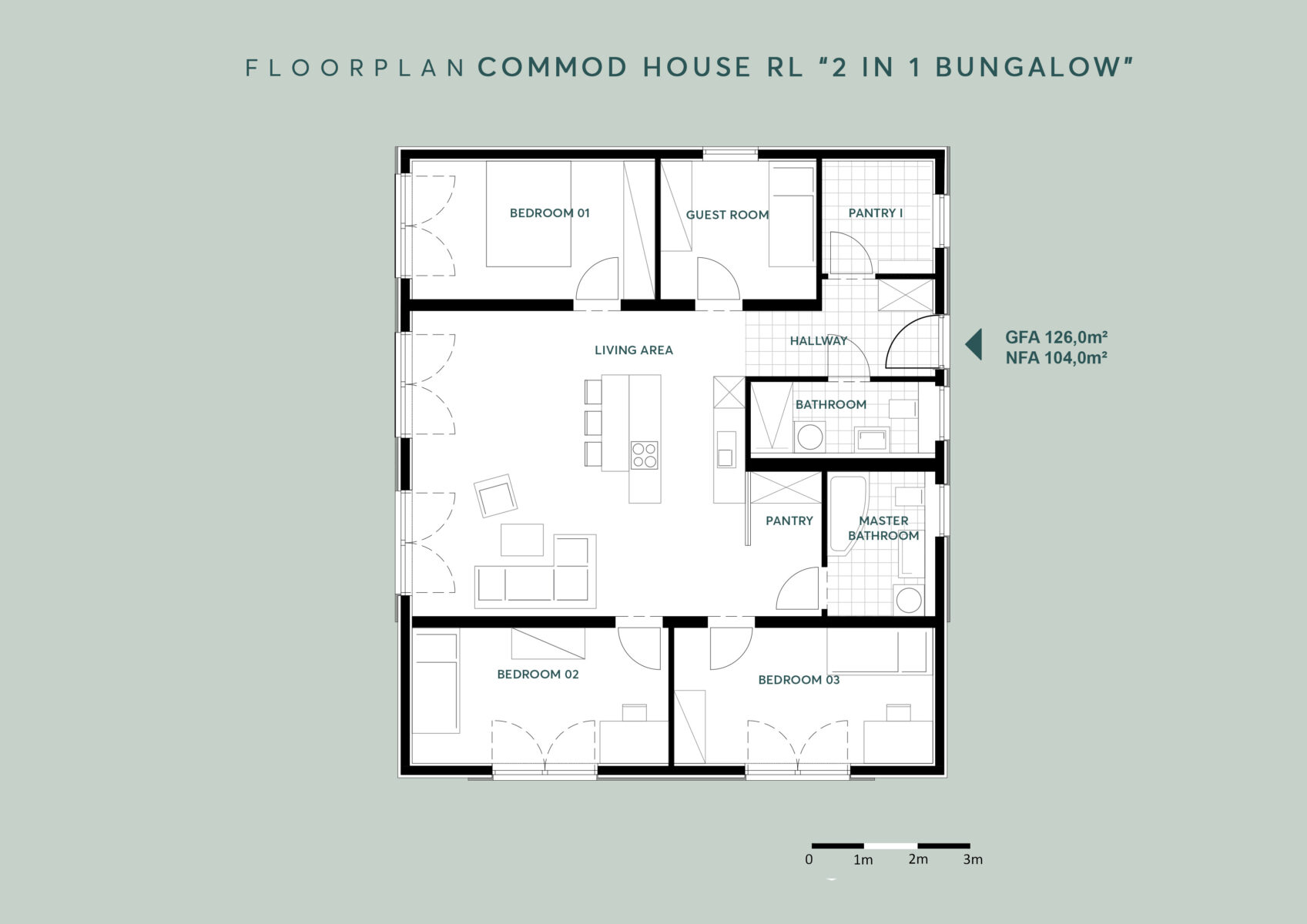 """COMMOD HOUSE """"2 IN 1 BUNGALOW"""" 126m² GFA"""