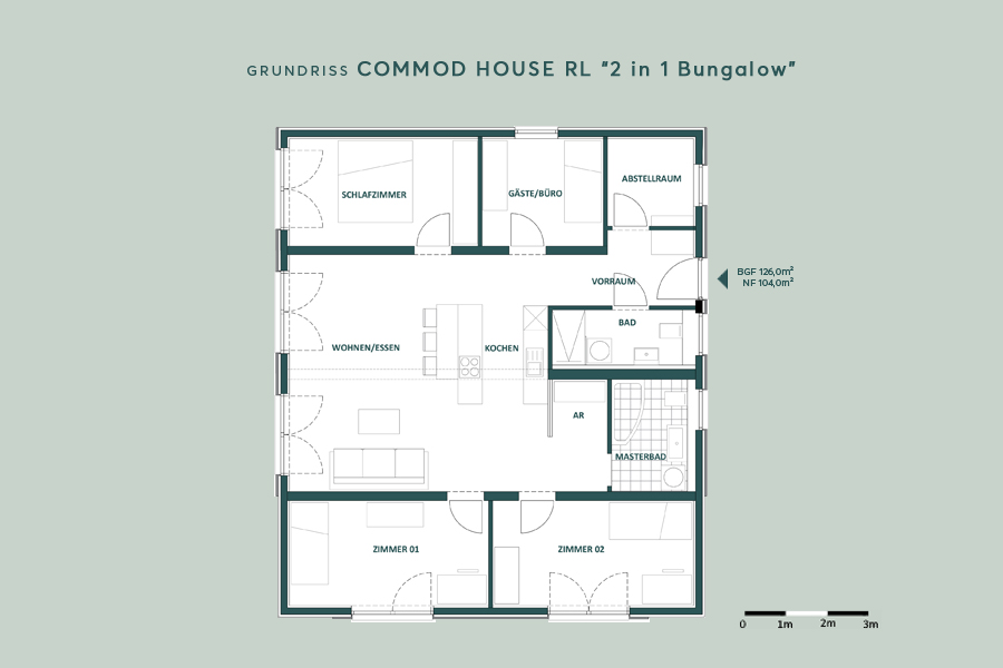 """COMMOD HOUSE """"2 in 1 Bungalow"""" 126m² BGF"""