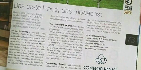 COMMOD HOUSE im Weekend Magazin