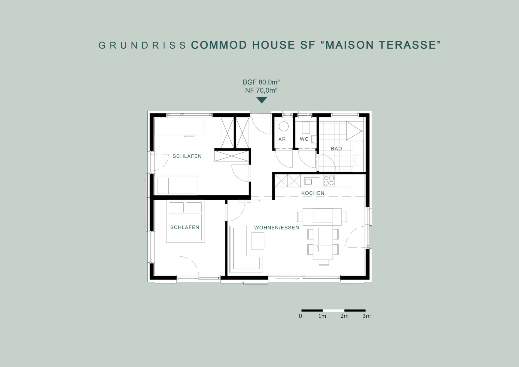 "COMMOD HOUSE SF ""Maison Terrasse"" 80m² BGF"