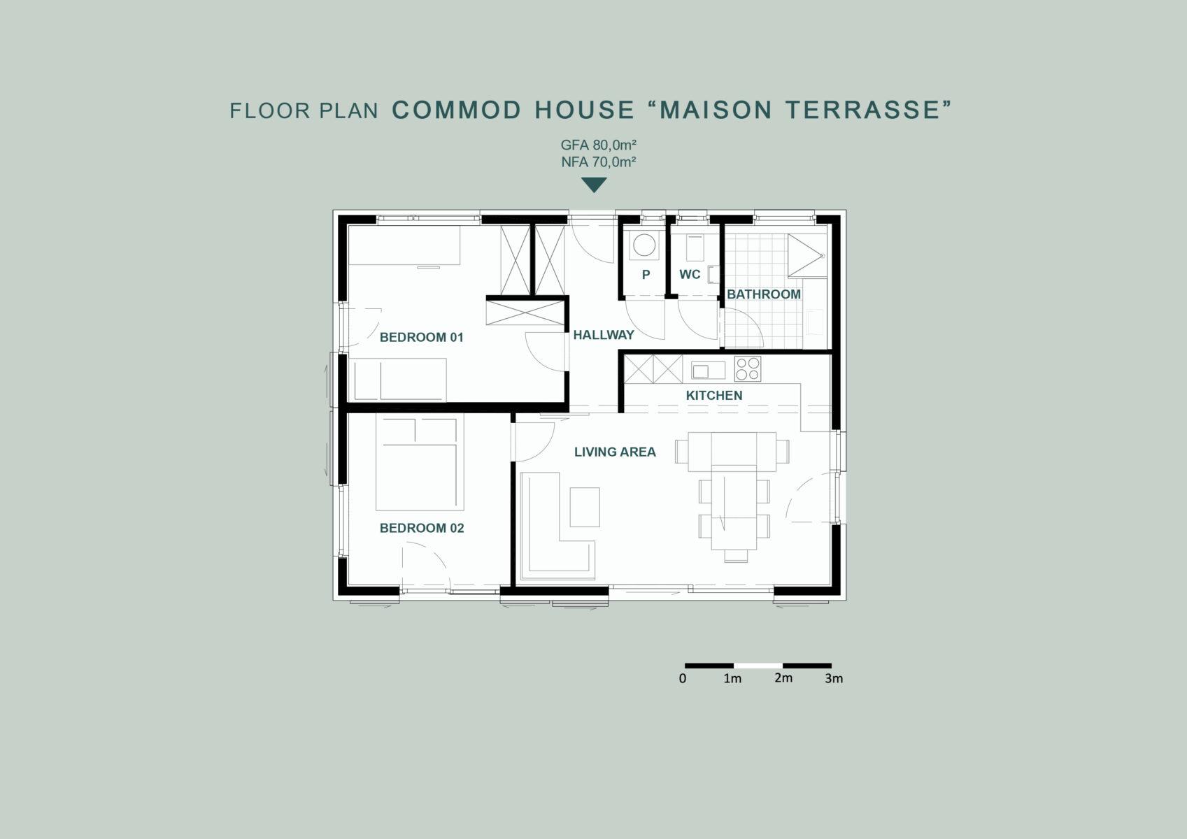 "COMMOD HOUSE ""MAISON TERRASSE"" 80m² GFA"