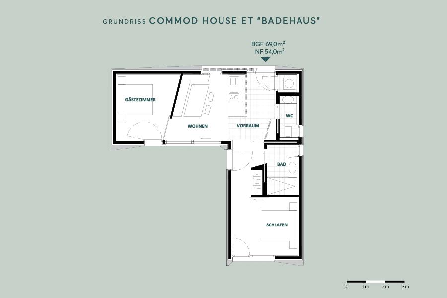 "COMMOD HOUSE ET ""BADEHAUS"" 69m² BGF"